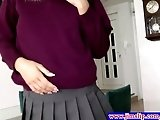 Blonde schoolgirl teases herself